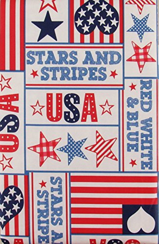 American USA Stars And Stripes Patriotic Patchwork Vinyl Flannel Back Tablecloth (52