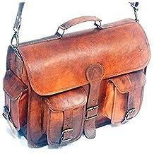 HLC Vintage Genuine Leather Laptop Briefcase messenger satchel bag