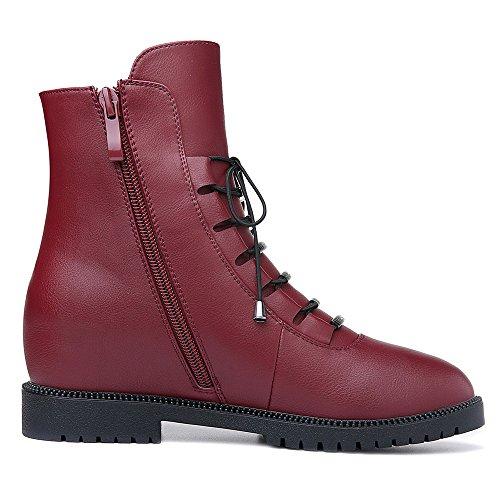 Molecole Kvinna Läder Boots Fuax Pälsar Dolda Kil Dragkedja Tillfälliga Tossor Skor Svart Röd