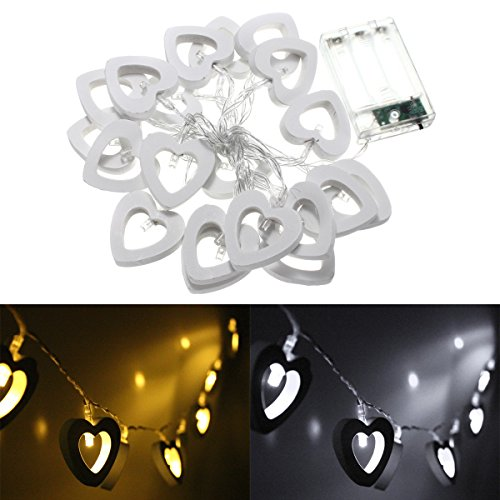 Battery Operated 20LED Heart Shape String Fairy Light for Party Decor ( Warm White - Eyeglass For Face Long Shape