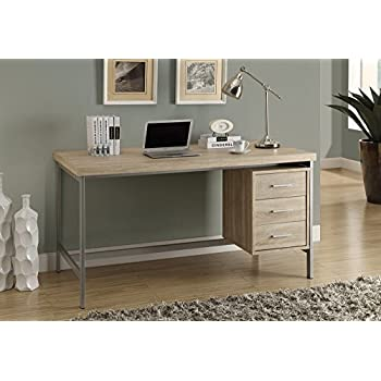 Monarch Reclaimed Look/Silver Metal Office Desk, 60 Inch, Natural