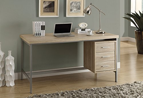 - Monarch Reclaimed-Look/Silver Metal Office Desk, 60-Inch, Natural