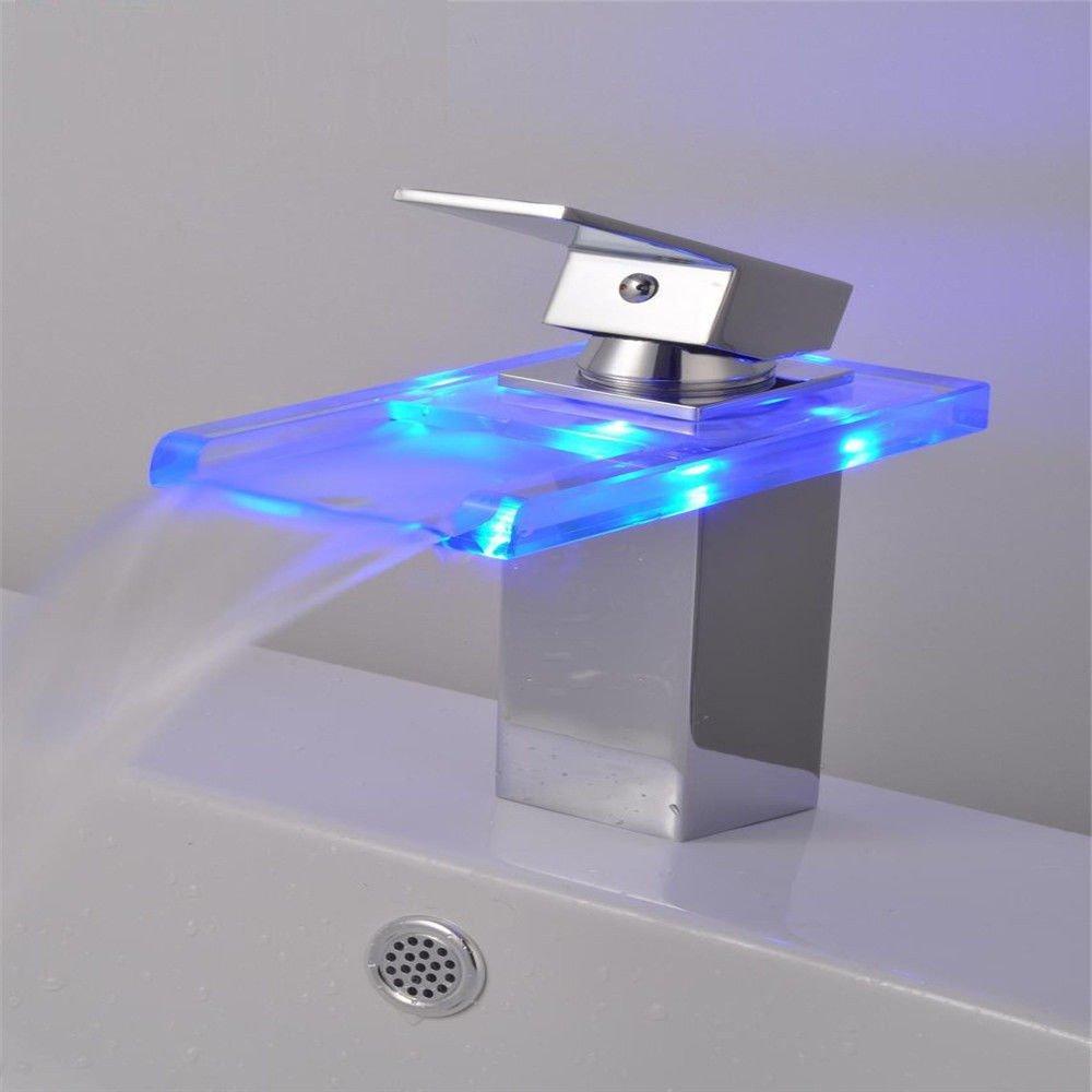 MEIBATH Waschtischarmatur Badezimmer Waschbecken Wasserhahn Küchenarmaturen Wasserfall Glas LED Küchen Wasserhahn Badarmatur