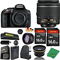 Great Value Bundle for D5300 DSLR – 18-55mm AF-P + 2PCS 16GB Memory + Wide Angle + Telephoto Lens + Backpack