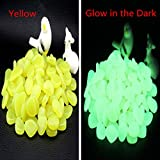 ASIBT 500 Pcs Glow in the Dark Stones,Garden Pebbles Rocks for Outdoor, Walkway, Window, Yard Grass, and Fish Tank Decoration (Yellow)