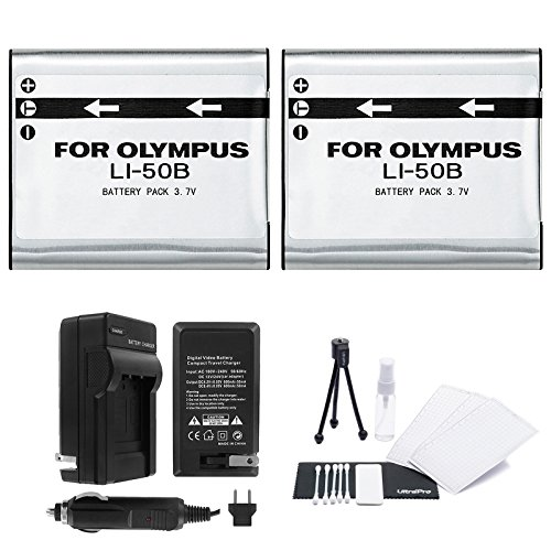LI-50B Battery 2-Pack Bundle with Rapid Travel Charger and UltraPro Accessory Kit for Select Olympus Cameras Including SH-25MR, SP-720UZ, SP-800UZ, SP-810UZ, and SZ-31MR (Charger Li 50b)