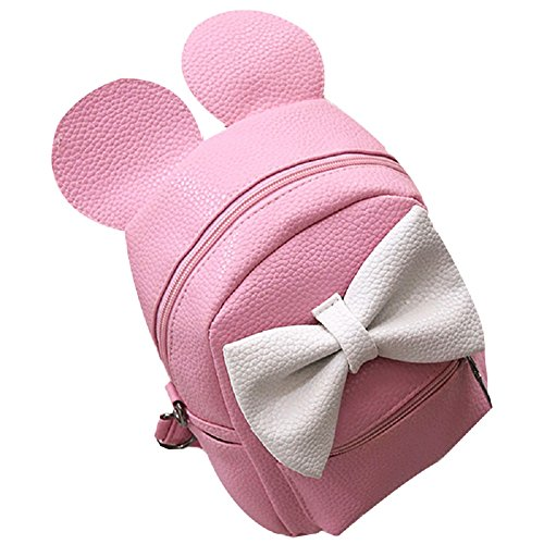Women Girls Cute Mini Backpack Casual Travel Mouse Ear PU Leather Shoulder School Bag Rucksack Daypacks (Minnie Mouse Green Ears)