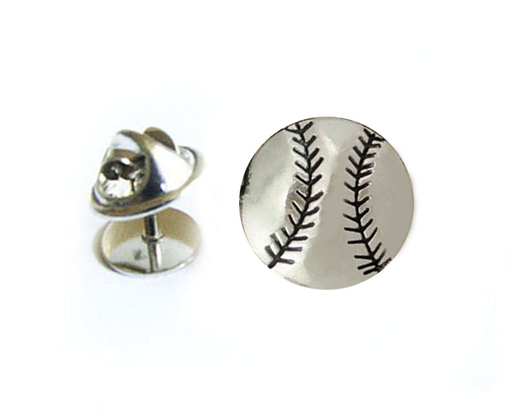 Baseball Tie Tack, Antiqued Silver Sports Ball Tie Pin