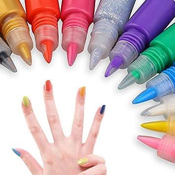 Bureze 12 Colors 3d Nail Art Paint Drawing Pen Acrylic Nails Art