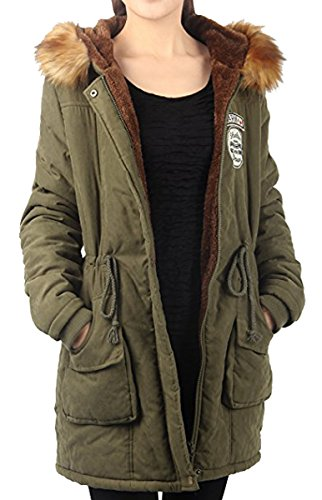 Mujer Ejercito Jacket Pelo BLACKMYTH Invierno Cálido Verde Capucha Capa Parka Outwear p5zBqwSx