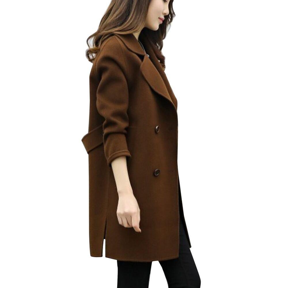 Hot Sales FimKaul Women Jacket Casual Outwear Parka Cardigan Slim Coat Overcoat (L, Coffee)