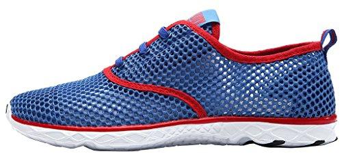 Womens Mesh Lace-up Quick Dry Aqua Water Shoe Blu Rosso