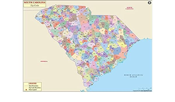 Amazon Com South Carolina Zip Code Map 36 X 25 46 H Office Products
