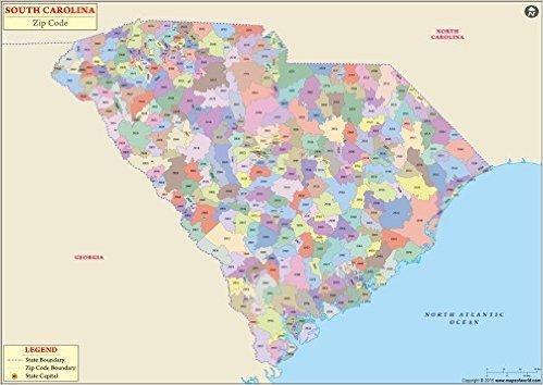 South Carolina Zip Code Map - Laminated (36