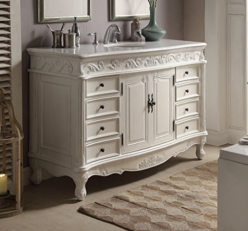 "56"" Benton Collection Antique White Beckham Bathroom sink vanity Model CF-3882W-AW-56 - Aw Antique Bathroom Vanity"