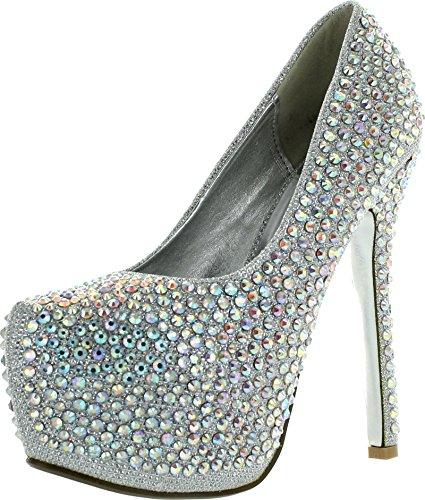 JJF Shoes Lousia Silver Sparkling Crystal Rhinestone Studded Dress High Stiletto Platform Pumps-6