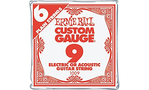 Ernie Ball Nickel Plain Single Guitar String .009 6-Pack ()