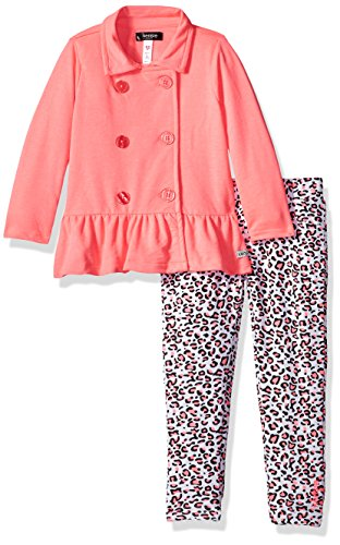kensie Girls' Little 2 Piece French Terry Set (More Styles Available), Neon Light Coral KZ48 5 from kensie