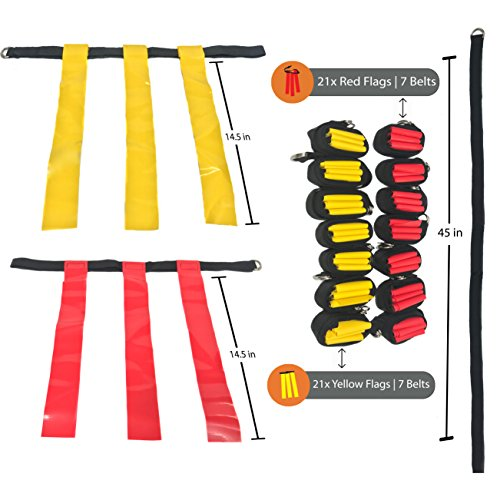 14 Player Flag Football Set - 65 Total Pieces, Football Flags For Kids And Adults, Youth Football Kit | Includes 14 Belts, 3 Flags Each, 6 Cones And Stand, Carrying Bag And a BONUS Kicking Tee by Certamen Athletics (Image #1)