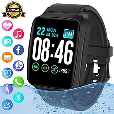 Smart Watch,Bluetooth Smartwatch Sports Fitness Watch Activity Tracker with Heart Rate Blood Pressure Monitor IP67 Waterproof Fitness Tracker Smart Bracelet Wristband for Android iOS Phones Men Women
