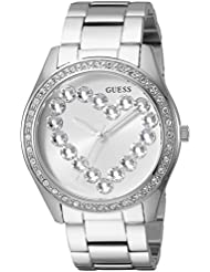 GUESS Womens Stainless Steel Crystal Heart Watch, Color: Silver-Tone (Model: U1061L1)