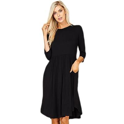 bea33b10c56 Annabelle Women s Scoop Neck 3 4 Sleeve High Empire Waist Dress With Side  Pockets