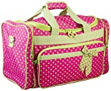 Fuchsia and Lime Green Polka Dot Duffel Bag~ great for travel or dance, Bags Central