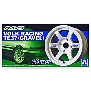 Aoshima 1/24 Scale Volk Racing TE37 16 Inch Wheel Set - Plastic Model Buiding Set # 52501