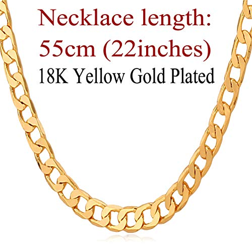 (Khuntorians-necklace Men 5MM Width Gold Color Fashion Gift Wholesale Curb Link Chain Men Hip Hop Jewelry N744,k4)