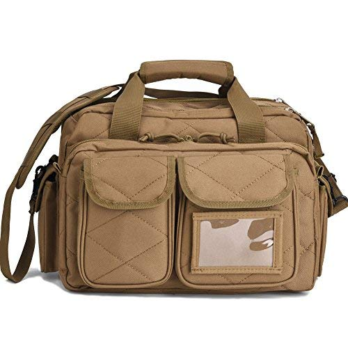 (REEBOW TACTICAL Tactical Gun Range Bag, Deluxe Pistol Shooting Range Duffle Bags Brown)