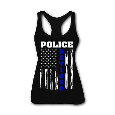 c4da2b481d6eb Amazon.com  G.8.D Women s Cool Retired Police Officer American Flag ...