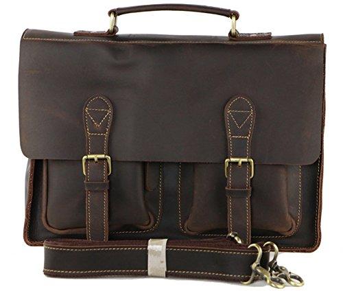 Nur für you-zm Retro Buffalo Hunter Leder Laptop Messenger Bag Büro Aktentasche College Tasche für Herren