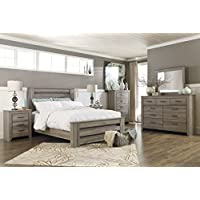 Zerlien Casual Wood Warm Gray Color Bed Room Set, Queen Poster Bed, Dresser, Mirror, Two Nightstands And Chest