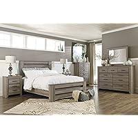 Zerlien Casual Wood Warm Gray Color Bed Room Set, Queen Poster Bed, Dresser, Mirror, Two Nightstands And Chest