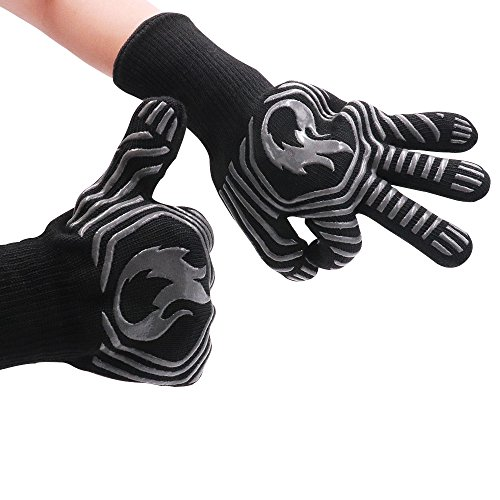 ABDQPC BBQ Gloves Grill Gloves Oven Gloves,932°F Extreme Heat Resistant Kitchen BBQ Gloves Oven Mitts With Fingers For Cooking Grilling Baking ()