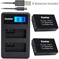 Kastar Battery (X2) & LCD Dual Slim Charger for Canon LP-E17, LC-E17, LC-E17C and Canon EOS M3, EOS Rebel T6i, EOS Rebel T6s, EOS 750D, EOS 760D, EOS 8000D, Kiss X8i camera