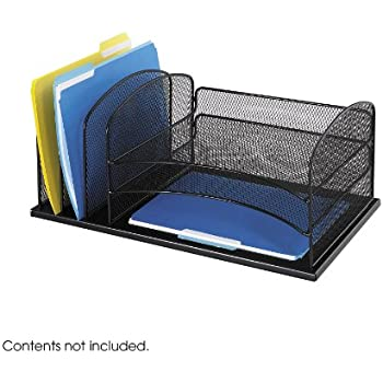Safco Products 3254BL Onyx Mesh Desktop Organizer with 3 Vertical/3 Horizontal Sections, Black