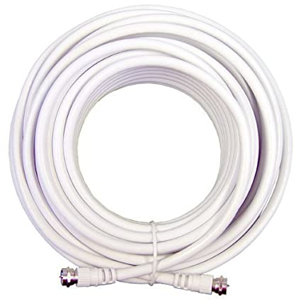 BoostWaves100 Feet Low Loss RG6 Coaxial Digital Audio Video Patch Cable White, F Pin to
