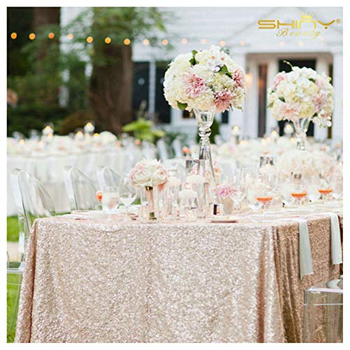 ShinyBeauty Sequin Tablecloth 90x132-Inch Champagne, Draping Swing Elegant Table ()
