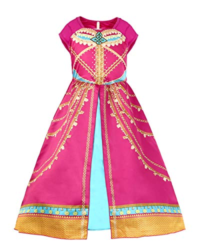 JiaDuo Girls Princess Costume Toddler Halloween Party Dress Up 5-6 Years Rose Red