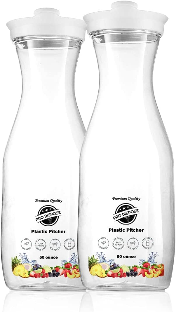 Pro Dispose Premium Clear Plastic Pitcher   Heavy Duty Carafes with Flip Top Lid   BPA Free Container – Perfect for Milk, Cold Drinks or Juices   50 Ounce