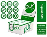 PUR 100% Xylitol Chewing Gum, Spearmint, 9 Count (Pack of 12) Sugar-Free + Aspartame Free, Vegan + non GMO