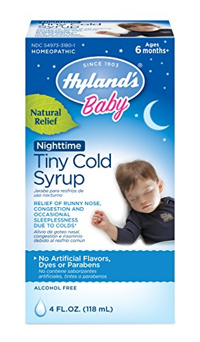 Hyland's Baby Nighttime Cold Syrup, Natural Relief of Runny Nose, Congestion, and Sleeplessness, 4 Ounce