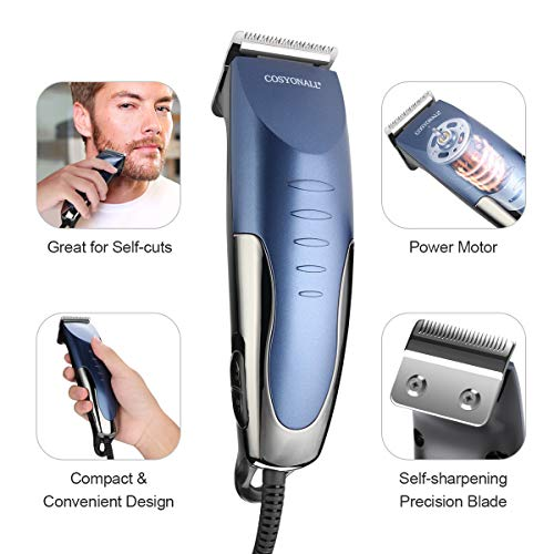 Cosyonall Hair Clippers for Men Pro Corded Hair Trimmer Cutting Kit with 8 Clipper Guide Combs Hard Storage Case for Hair Cutting