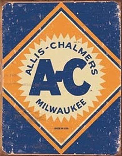 SRongmao Allis Chalmers Logo Tractor Farm Plow Distressed Retro Vintage Look Wall Decor Metal Tin Sign 16x12in