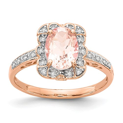 ICE CARATS 14kt Rose Gold Diamond Pink Morganite Band Ring Size 7.00 Stone Gemstone Fine Jewelry Ideal Gifts For Women Gift Set From Heart -