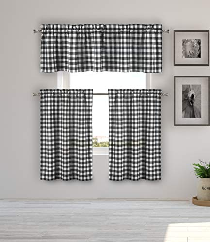 Home Maison  - Kaiser Plaid Gingham Checkered Kitchen Tier & Valance Set | Small Window Curtain for Cafe, Bath, Laundry, Bedroom - (Black)