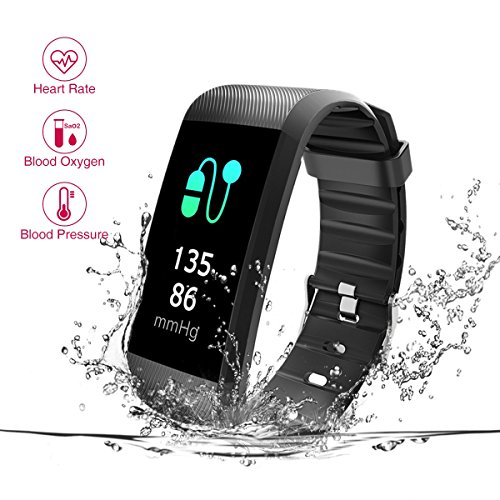 New Fitness Tracker, Heart Rate Monitor, IP67 Waterproof Smart Bracelet with Camera Remote Shoot, Activity Fitness Wristband R11 Pedometer for Bluetooth Android and iOS (R11-Black) by READ