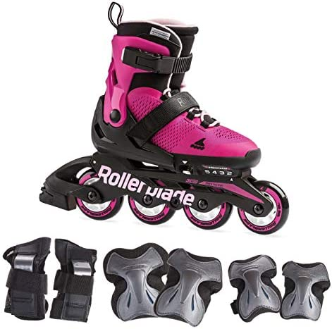 Rollerblade Microblade Girl s Adjustable Fitness Inline Skates and 3 Pack of Protective Gear, Pink and Bubble Gum, Junior, Youth Performance Inline Skates