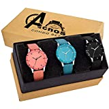 Acnos Special Super Quality Analog Watches Combo Look Like Preety for Girls and Women Pack of - 3(605-BLK-ORG-SKY)